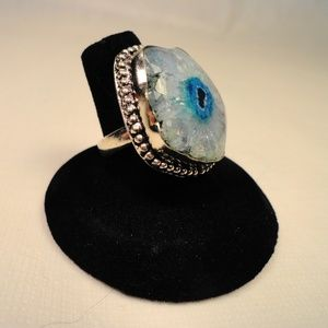 Sky Blue Solar Quartz Gemstone .925 Silver Ring